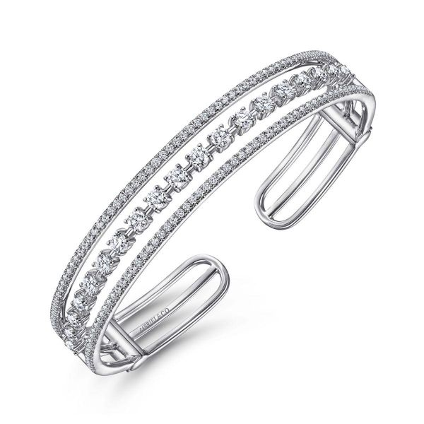 White Gold Three Row Diamond Cuff Bracelet Image 2 SVS Fine Jewelry Oceanside, NY