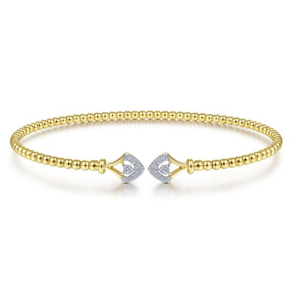 Yellow Gold Bujukan Bead Split Cuff with Diamonds SVS Fine Jewelry Oceanside, NY