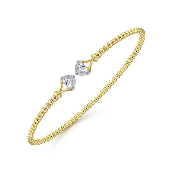 Yellow Gold Bujukan Bead Split Cuff with Diamonds Image 2 SVS Fine Jewelry Oceanside, NY