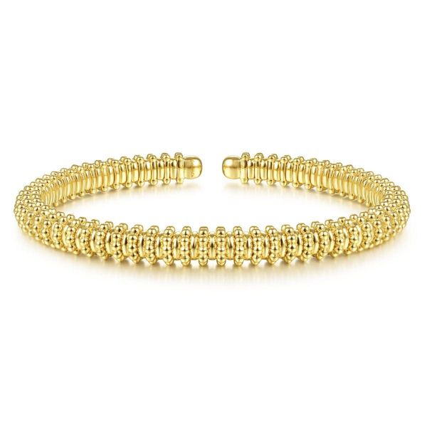 Yellow Gold Bujukan Bead Cuff Bracelet SVS Fine Jewelry Oceanside, NY