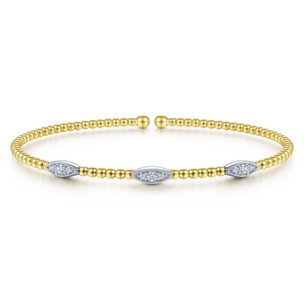 White-Yellow Gold Bujukan Bead Cuff Bracelet with Diamond Filled Marquise Stations SVS Fine Jewelry Oceanside, NY