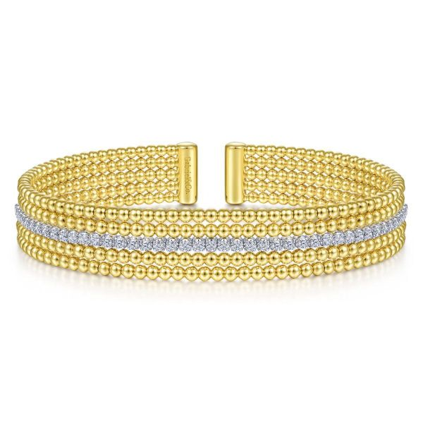 Wide White-Yellow Gold Bujukan Bead Cuff Bracelet with Inner Diamond Channel SVS Fine Jewelry Oceanside, NY