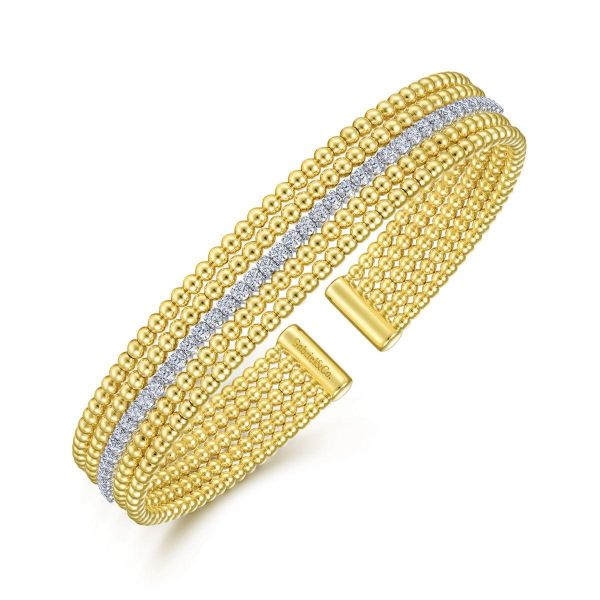 Wide White-Yellow Gold Bujukan Bead Cuff Bracelet with Inner Diamond Channel Image 2 SVS Fine Jewelry Oceanside, NY
