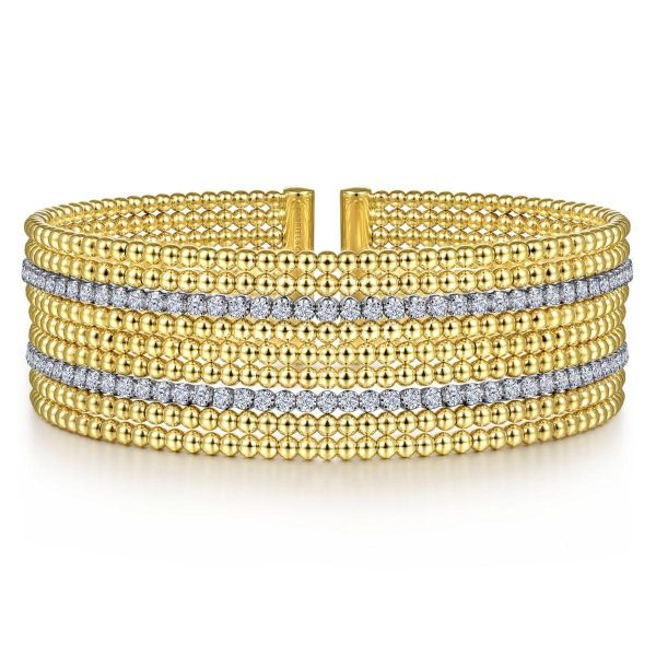 Wide White-Yellow Gold Bujukan Bead Cuff Bracelet with Diamond Channels SVS Fine Jewelry Oceanside, NY