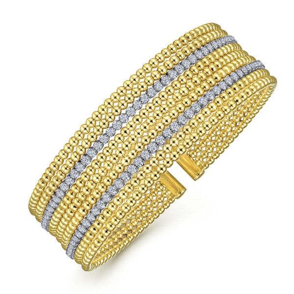 Wide White-Yellow Gold Bujukan Bead Cuff Bracelet with Diamond Channels Image 2 SVS Fine Jewelry Oceanside, NY