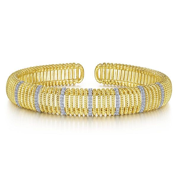 White-Yellow Gold Twisted Rope Cuff Bracelet with Diamond Stations SVS Fine Jewelry Oceanside, NY