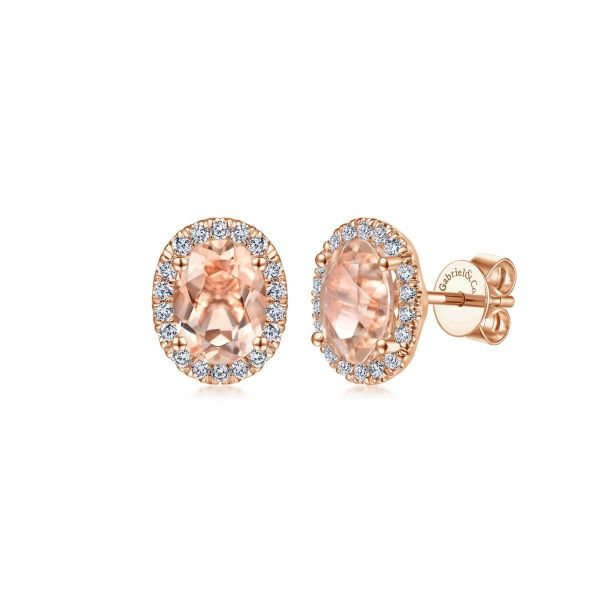 Rose Gold Oval Morganite and Diamond Halo fashion Earrings SVS Fine Jewelry Oceanside, NY