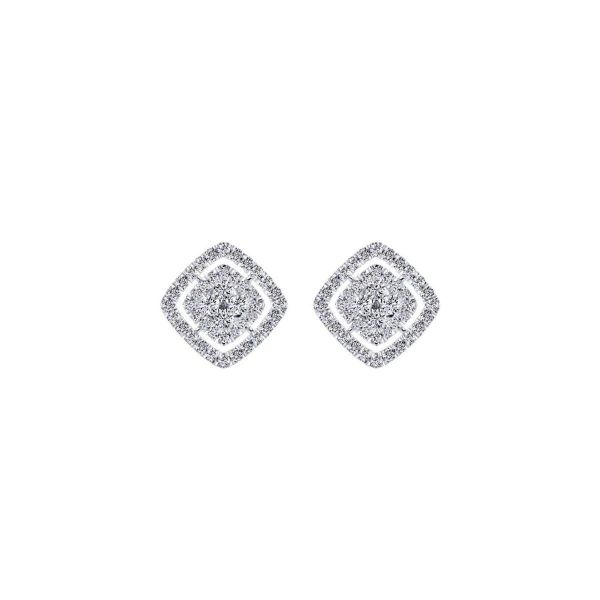 White Gold Rhombus Diamond Cluster fashion Earrings SVS Fine Jewelry Oceanside, NY