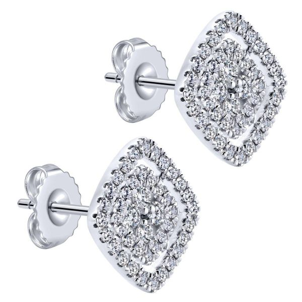 White Gold Rhombus Diamond Cluster fashion Earrings Image 2 SVS Fine Jewelry Oceanside, NY