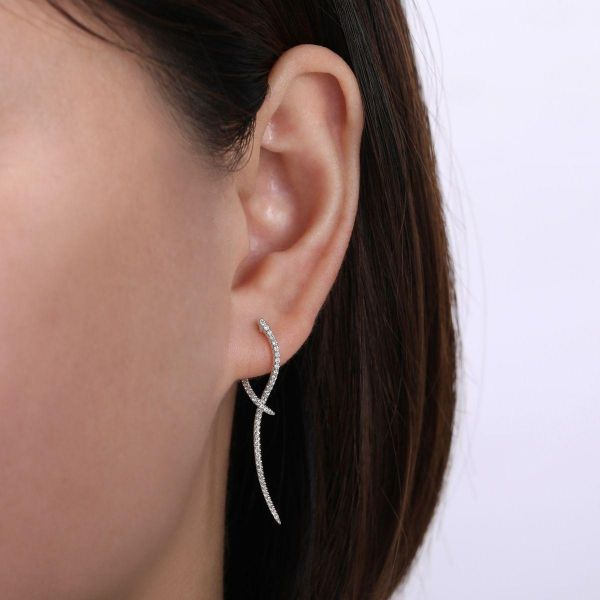 White Gold Sculptural Diamond Drop Earrings Image 2 SVS Fine Jewelry Oceanside, NY