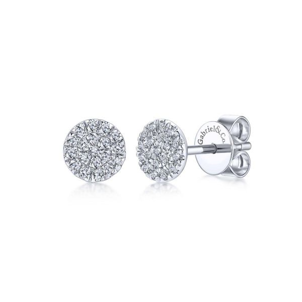 White Gold Round Cluster Diamond fashion Earrings SVS Fine Jewelry Oceanside, NY