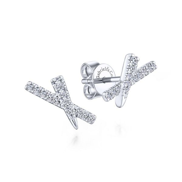 White Gold Tapered X Diamond fashion Earrings SVS Fine Jewelry Oceanside, NY