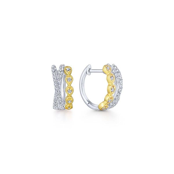 Yellow-White Gold Criss Cross 10mm Diamond Huggie Earrings SVS Fine Jewelry Oceanside, NY