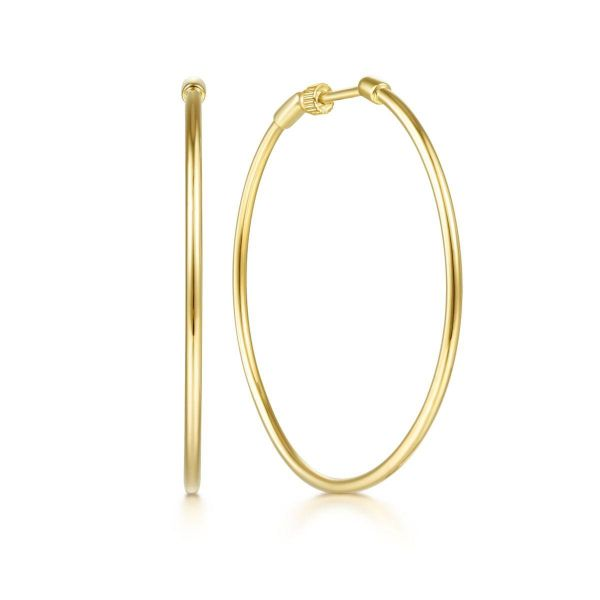 Yellow Plain Gold 40mm Round Classic Hoop Earrings SVS Fine Jewelry Oceanside, NY