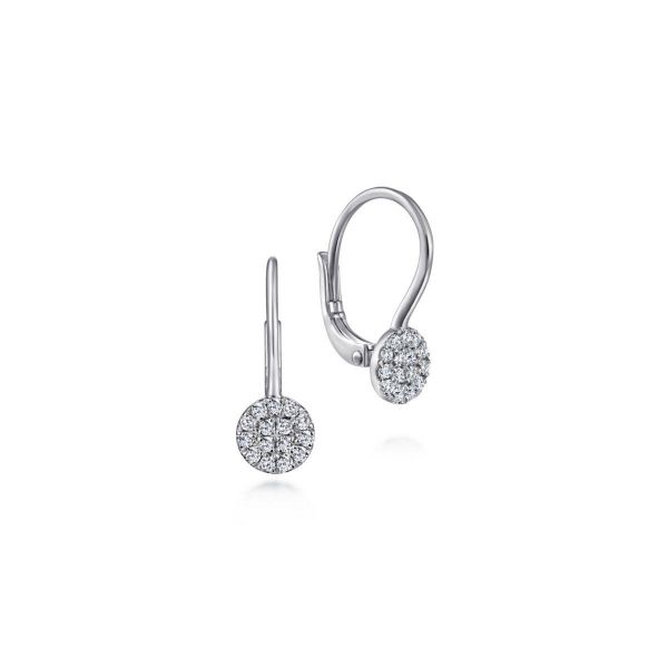 White Gold Round Pavé Diamond Drop Earrings SVS Fine Jewelry Oceanside, NY