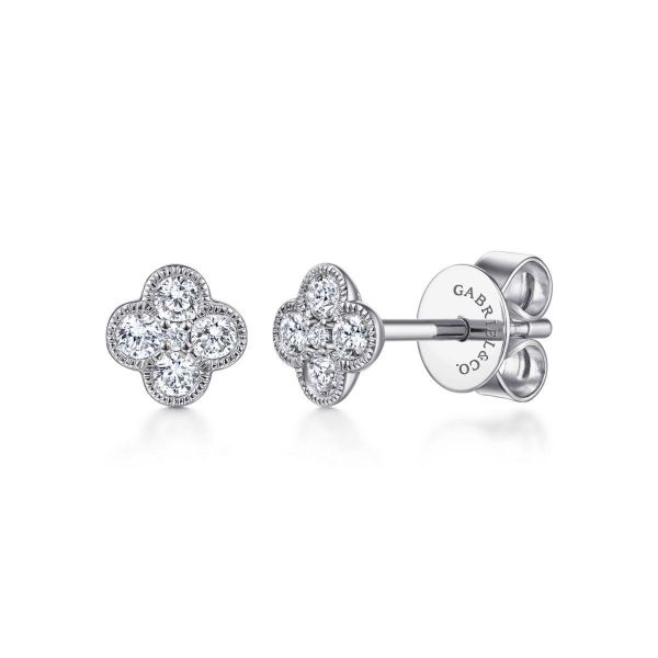White Gold Diamond Flower fashion Earrings SVS Fine Jewelry Oceanside, NY