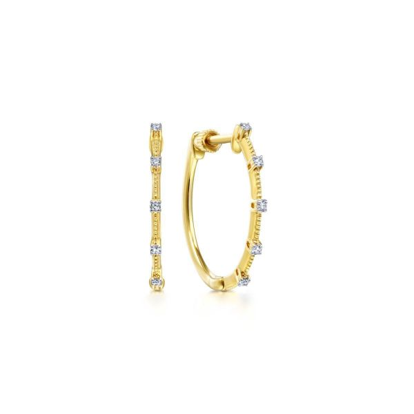 Yellow Gold 20mm Classic Diamond Station Hoop Earrings SVS Fine Jewelry Oceanside, NY