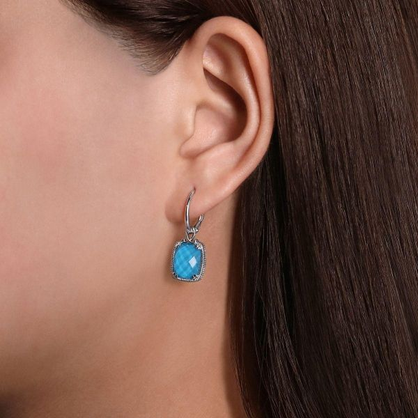 925 Sterling Silver Rock Crystal/Turquoise Long Cushion Drop Earrings Image 2 SVS Fine Jewelry Oceanside, NY