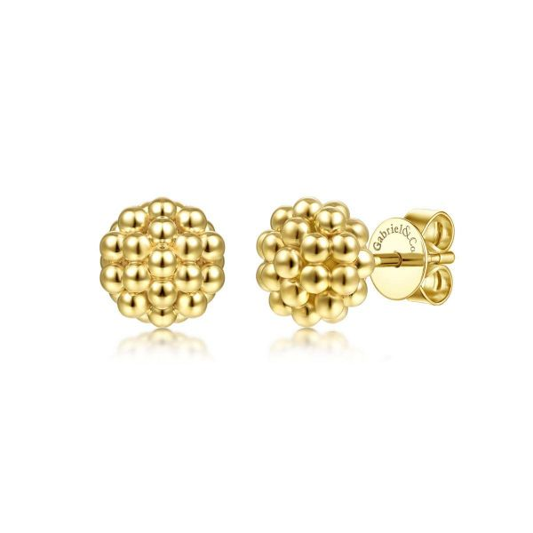 Yellow Gold Round Beaded fashion Earrings SVS Fine Jewelry Oceanside, NY