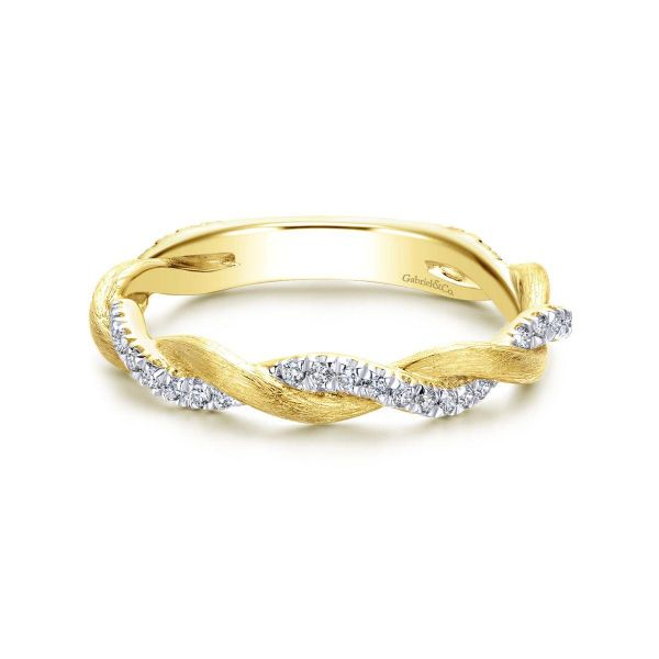 Yellow Gold Twisted Diamond Stackable Ring SVS Fine Jewelry Oceanside, NY
