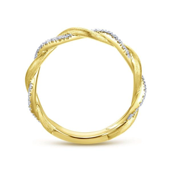 Yellow Gold Twisted Diamond Stackable Ring Image 2 SVS Fine Jewelry Oceanside, NY