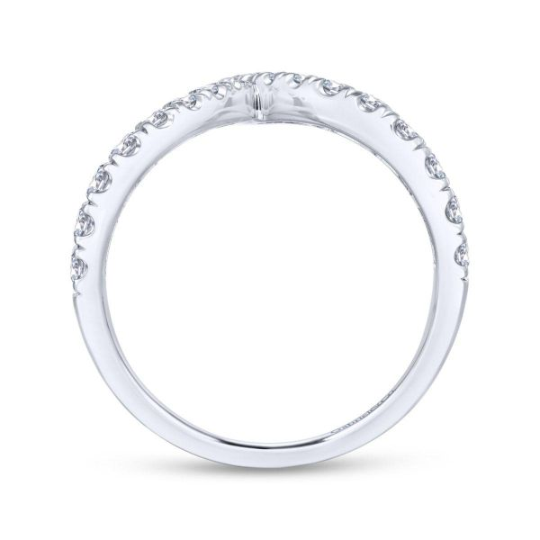 White Gold V Shaped Bypass Diamond Ring Image 2 SVS Fine Jewelry Oceanside, NY