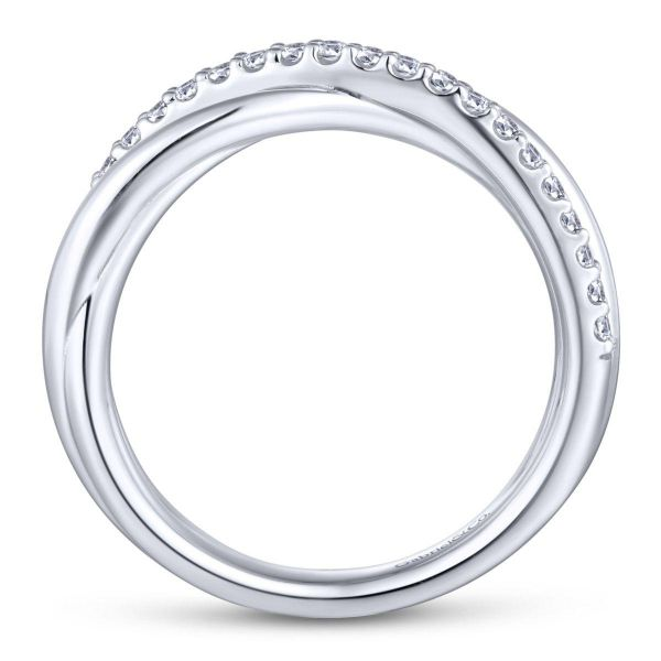 925 Sterling Silver White Sapphire Pavé Criss Cross Ring Image 2 SVS Fine Jewelry Oceanside, NY