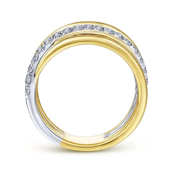 White-Yellow Gold Layered Wide Band Diamond Ring Image 2 SVS Fine Jewelry Oceanside, NY