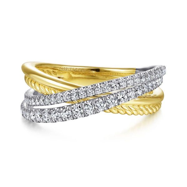 White-Yellow Gold Twisted Rope and Diamond Criss Cross Ring SVS Fine Jewelry Oceanside, NY