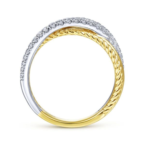White-Yellow Gold Twisted Rope and Diamond Criss Cross Ring Image 2 SVS Fine Jewelry Oceanside, NY