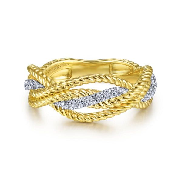 White-Yellow Gold Twisted Rope and Diamond Intersecting Ring SVS Fine Jewelry Oceanside, NY