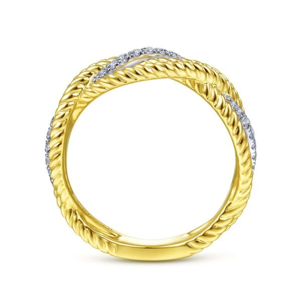 White-Yellow Gold Twisted Rope and Diamond Intersecting Ring Image 2 SVS Fine Jewelry Oceanside, NY