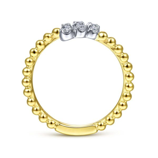 White-Yellow Gold Bujukan Ball and Diamond Open Bypass Ring Image 2 SVS Fine Jewelry Oceanside, NY