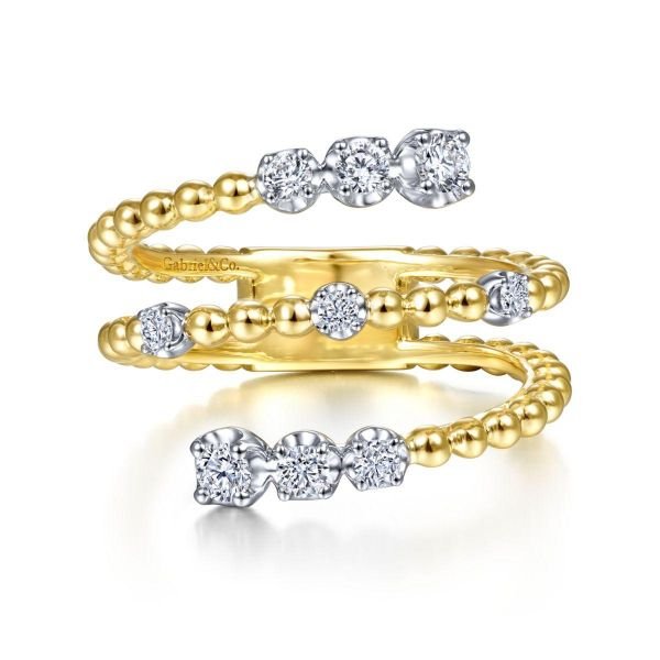 White-Yellow Gold Bujukan Ball and Diamond Open Bypass Wrap Ring SVS Fine Jewelry Oceanside, NY