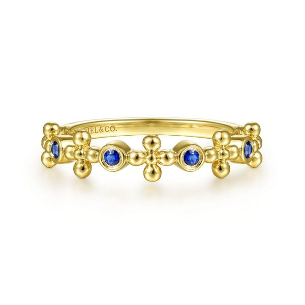 Yellow Gold Sapphire and Bujukan Bead Station Ring SVS Fine Jewelry Oceanside, NY