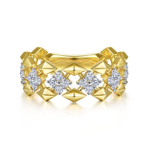 Yellow Gold Diamond Cluster Station Wide Ring SVS Fine Jewelry Oceanside, NY