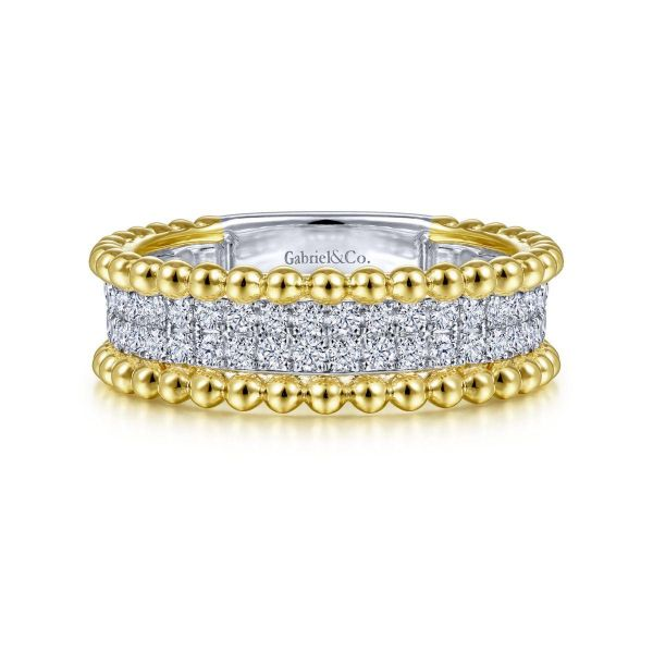 White-Yellow Gold Three Row Diamond and Bujukan Bead Ring SVS Fine Jewelry Oceanside, NY