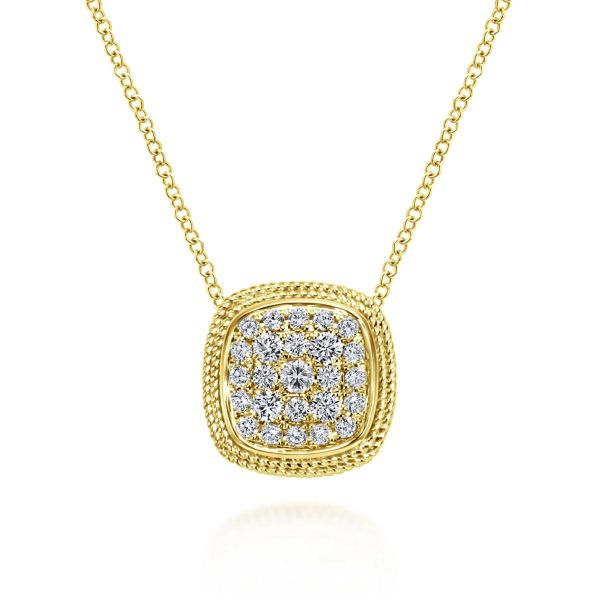 Yellow Gold Cushion Shape Diamond Pavé Pendant Necklace SVS Fine Jewelry Oceanside, NY
