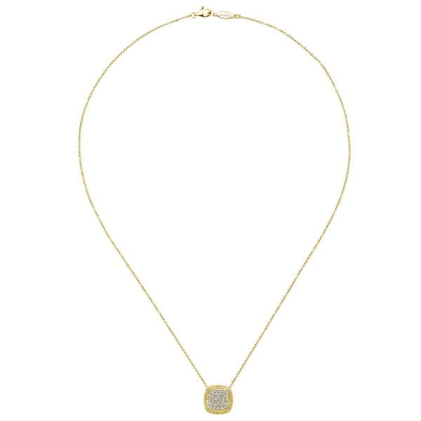 Yellow Gold Cushion Shape Diamond Pavé Pendant Necklace Image 2 SVS Fine Jewelry Oceanside, NY