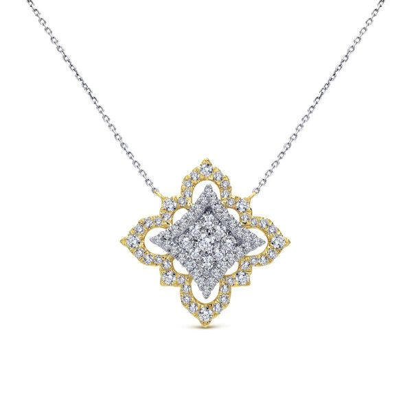 Yellow-White Gold Pavé Diamond Floral Pendant Necklace SVS Fine Jewelry Oceanside, NY