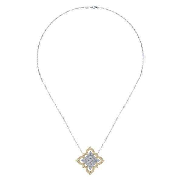 Yellow-White Gold Pavé Diamond Floral Pendant Necklace Image 2 SVS Fine Jewelry Oceanside, NY