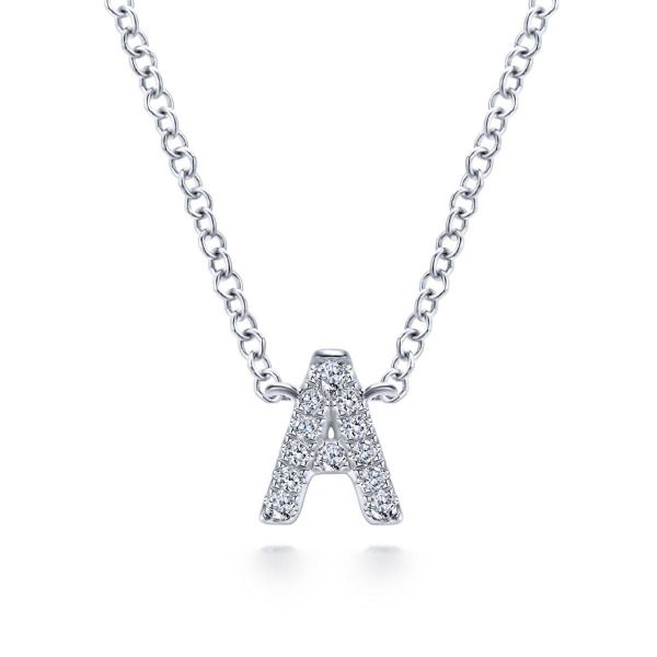 "White Gold Diamond ""A"" Initial Pendant Necklace SVS Fine Jewelry Oceanside, NY"