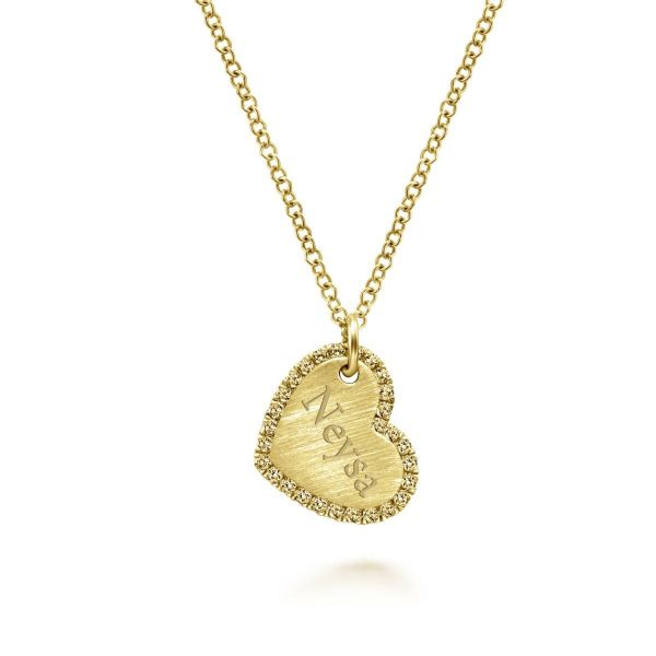 Sideways Yellow Gold Engraved Heart Pendant Necklace with Diamond Frame Image 2 SVS Fine Jewelry Oceanside, NY