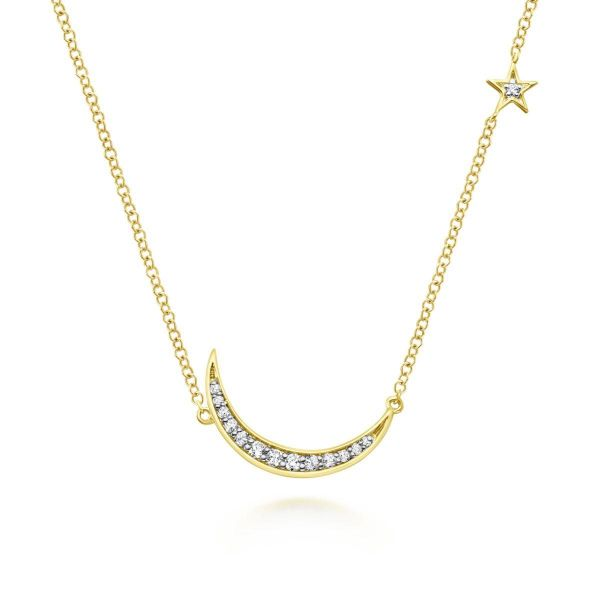 Yellow Gold Crescent Moon Diamond Pendant Necklace SVS Fine Jewelry Oceanside, NY