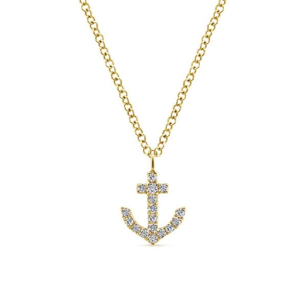 Yellow Gold Diamond Anchor Pendant Necklace SVS Fine Jewelry Oceanside, NY