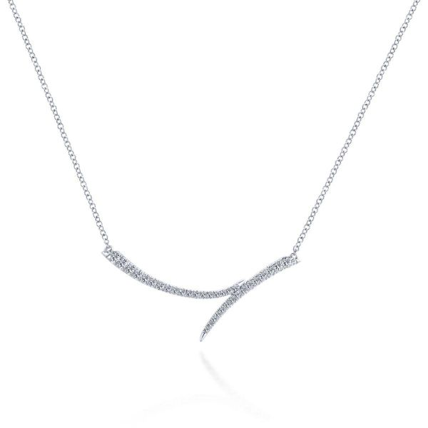 White Gold Curved Bypass Bar Necklace with Diamonds SVS Fine Jewelry Oceanside, NY