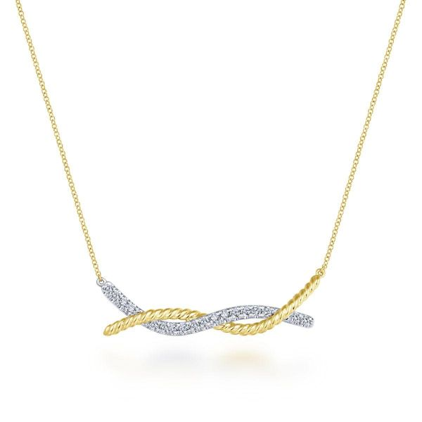 Yellow-White Gold Twisted Rope and Pavé Diamond Bar Necklace SVS Fine Jewelry Oceanside, NY