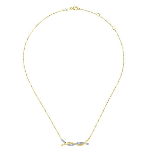 Yellow-White Gold Twisted Rope and Pavé Diamond Bar Necklace Image 2 SVS Fine Jewelry Oceanside, NY