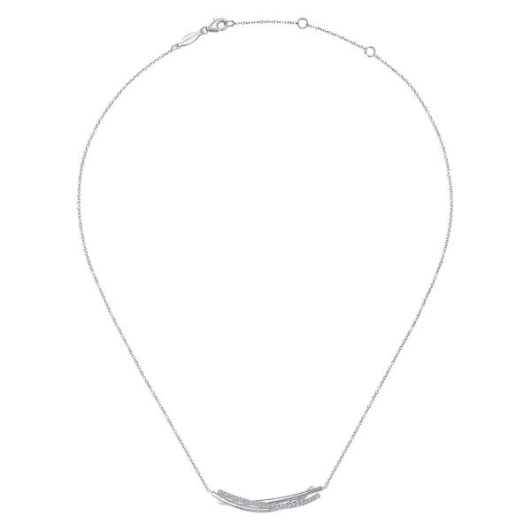 925 Sterling White Sapphire Bar Pendant Necklace Image 2 SVS Fine Jewelry Oceanside, NY
