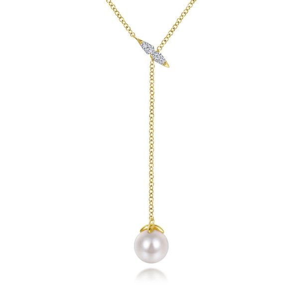 Yellow Gold Diamond Bar Y Necklace with Cultured Pearl Drop SVS Fine Jewelry Oceanside, NY